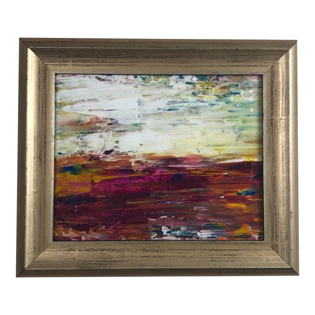 """""""Warm Horizon"""" Contemporary Abstract Expressionist Acrylic Painting, Framed For Sale"""