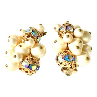 1950's Kramer Gold Faux Pearl Bead & Swarovski Crystal Earrings For Sale