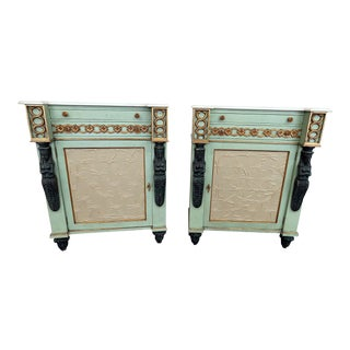 Marble Top Empire Style Commodes - a Pair For Sale