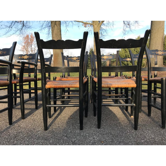 Black Vintage Black and Caned Hitchcock Chairs - Set of 12 For Sale - Image 8 of 11