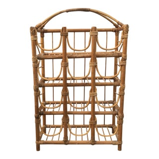 1970s Vintage Boho Rattan Bamboo 12 Bottle Wine Rack For Sale