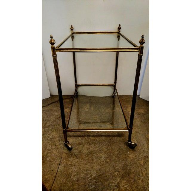 Vintage Brass Bar Cart For Sale - Image 5 of 9