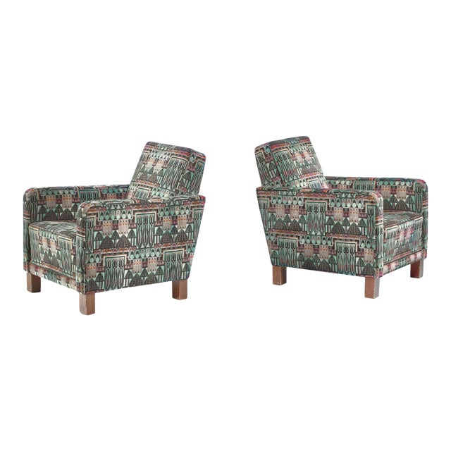 Björn Trägårdh Pair of Club Chairs With Original Art Nouveau Upholstery, 1930s For Sale