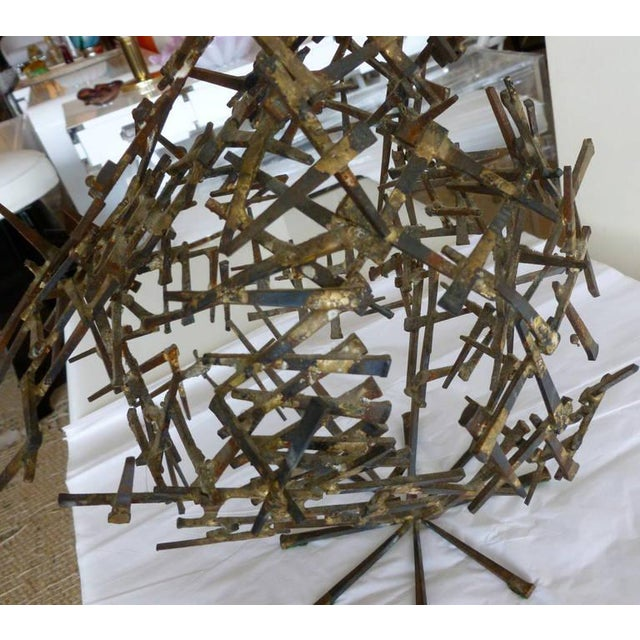 1970s Brutalist Abstract One of Kind Tabletop Nail Sculpture For Sale - Image 9 of 11