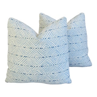 "Kravet Blue & White Mattydeale Rain Feather/Down Pillows 21"" Square - Pair For Sale"
