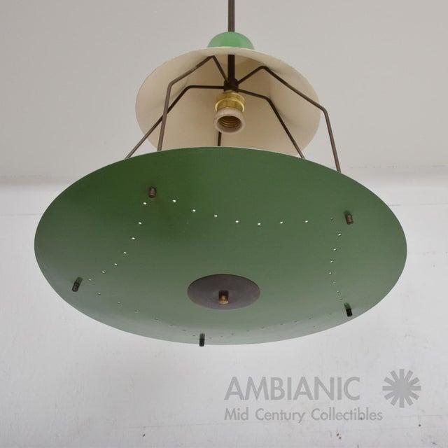 Mid-Century Modern 1950s Mid-Century Modern Pistachio Green Tiered Italian Chandelier Lamp, Italy For Sale - Image 3 of 11