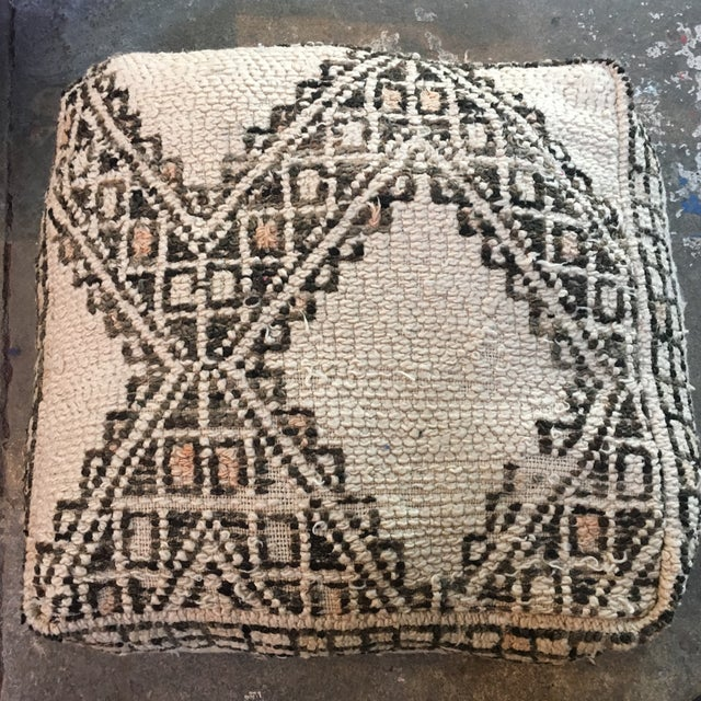 Cream & Brown Moroccan Floor Pouf - Image 2 of 4