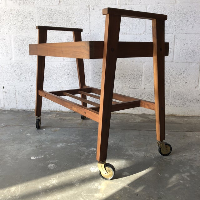 Vintage Mid Century Modern Danish Style Rolling Media Cart For Sale - Image 13 of 13