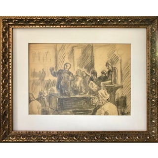 Vintage Wpa Era Graphite Court Room Scene Drawing by Harold Davies For Sale