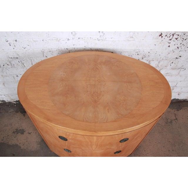 Charles Pfister for Baker Art Deco Primavera Three-Drawer Oval Commode Bachelor Chest For Sale - Image 9 of 13