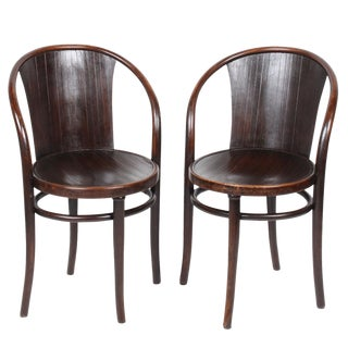 Early 20th Century Antique Thonet Bentwood Armchairs - A Pair For Sale