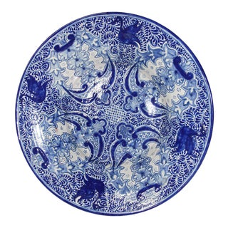 Large Blue and White Mexican Talavera Glazed Ceramic Bowl For Sale