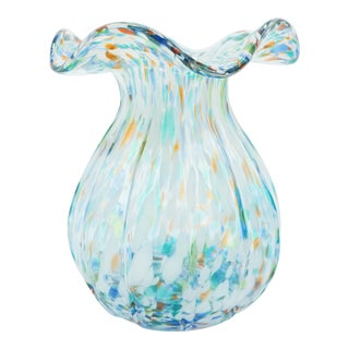 Light Blue with White and Orange Speckles Murano End of Day Glass Vase For Sale