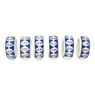 Blue and White Ceramic Napkin Holders - Set of 6