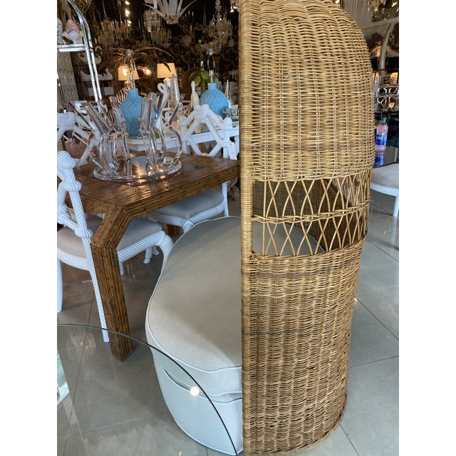 Wicker Vintage Wicker and Rattan Newly Upholstered Dome Hooded Loveseat Settee Chair For Sale - Image 7 of 13