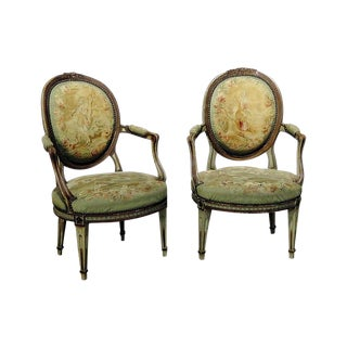 Louis XIV Style Needlepoint Upholstered Fauteuils - a Pair For Sale