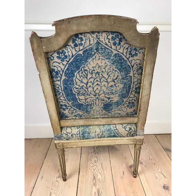 18th Century Louis XVI Bergere Chair With Fortuny Upholstery - Image 4 of 8