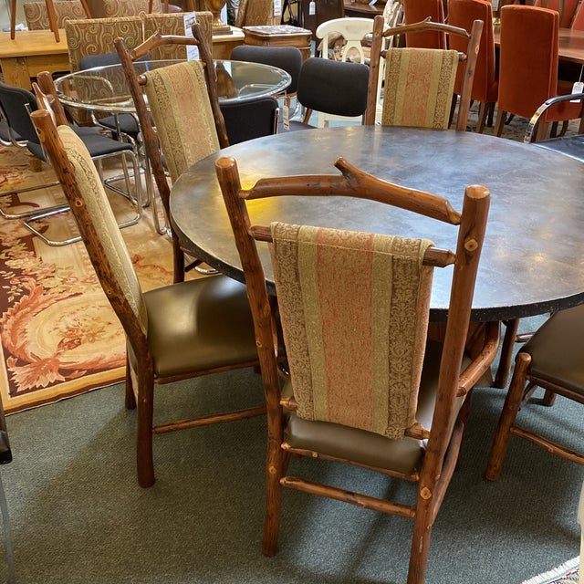 Hickory Furniture Custom Round Cement + Teak Dining Table + Six Hickory Wood Chairs- a Set For Sale - Image 4 of 13