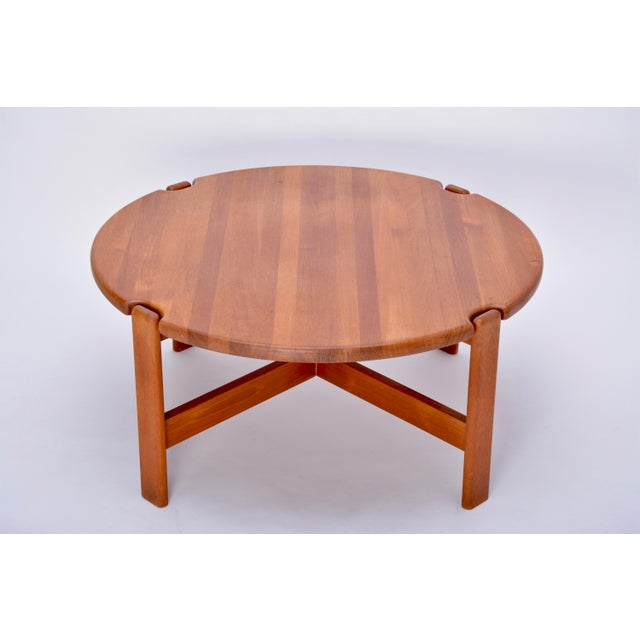 Scandinavian Round Coffee Table in Solid Teak, 1970s For Sale - Image 10 of 10