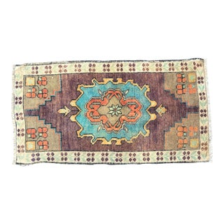Faded Turkish Handmade Decorative Purple Rug For Sale