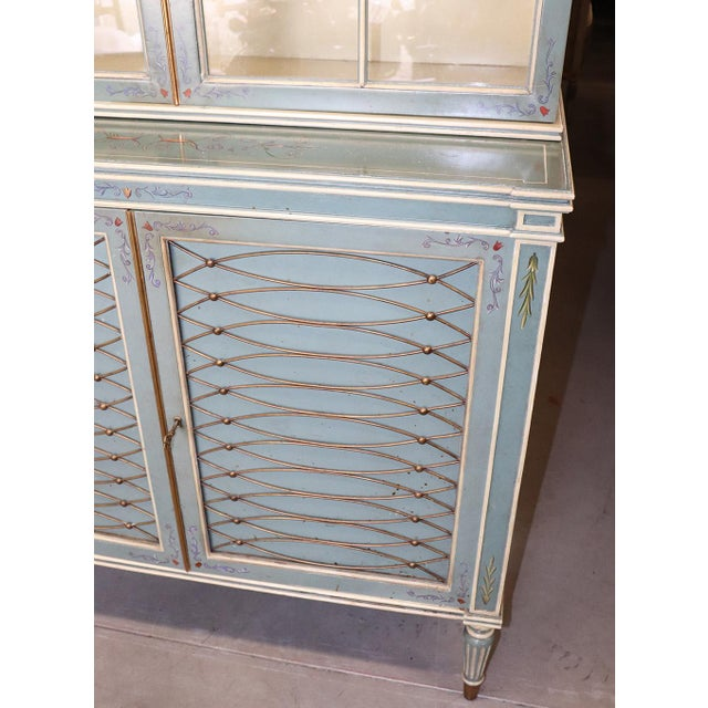 English Regency Style Paint Decorated China Cabinet For Sale - Image 10 of 13