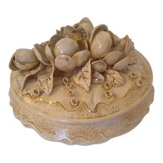 Antique 1800s Royal Copenhagen Floral Heavy Gilt Gold Porcelain Powder Box