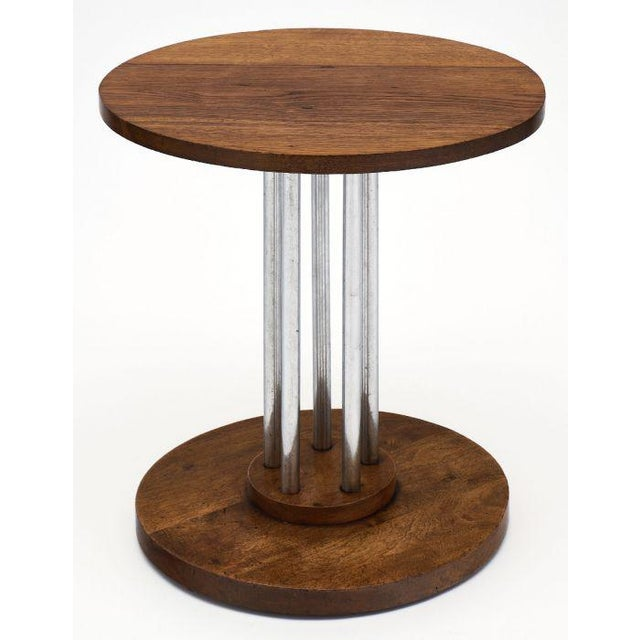 French Architectural Oak on Chromed Steel Tubes Gueridon Table For Sale - Image 9 of 10