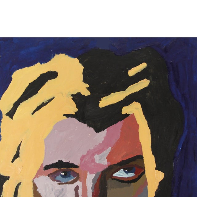 Vintage Pop Art Original Painting of a Man - Image 3 of 3