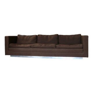1960s Mid Century Modern Brown Tweed Couch With Chrome Plinth Base
