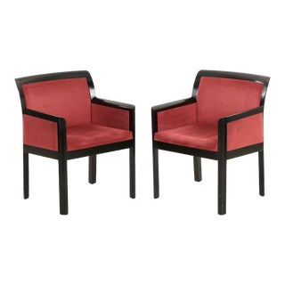 Art Deco Black Ebonized & Maroon Micro-Suede Arm Chairs - A Pair For Sale
