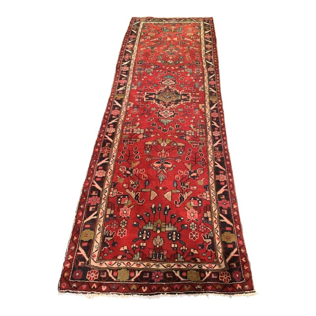 """Hand-Tied Persian Saruq Wool Runner Rug - 3′6″ × 10' 7"""" For Sale"""