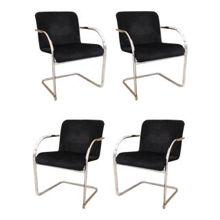 Cassina Modern Chromed Metal Dining Chairs - Set of 4 For Sale