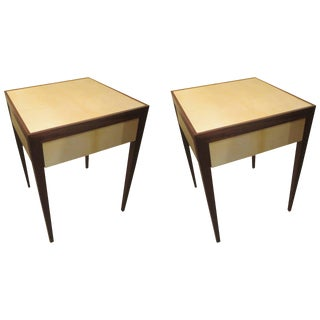 Custom Pair of Parchment Side End Tables with Pull-Out Drawers
