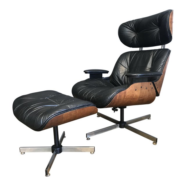 Mid-Century Eames Style Lounge Chair & Ottoman - Image 1 of 9