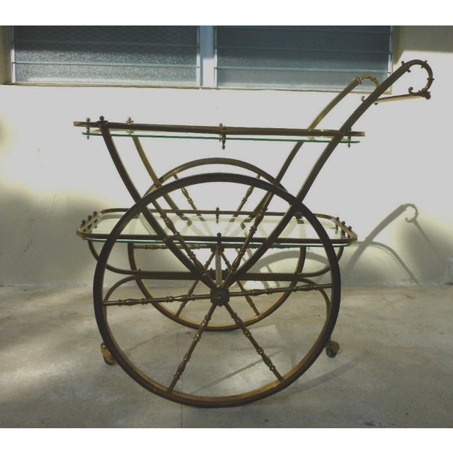 Mid-Century Hollywood Regency Brass Bar Cart For Sale - Image 10 of 12
