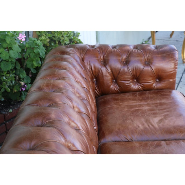 Modern Distressed Leather Tufted Chesterfield Sofa For Sale - Image 4 of 13