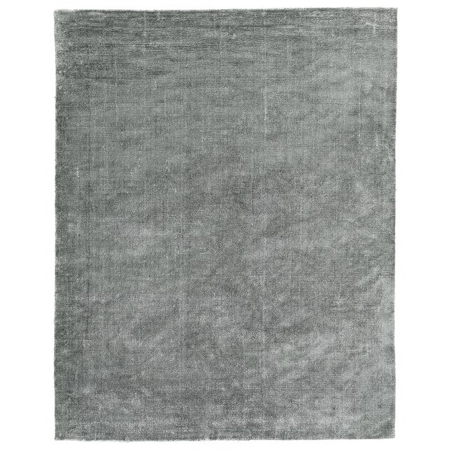 Silver Exquisite Rugs Milton Hand Loom Viscose Light Silver - 6'x9' For Sale - Image 8 of 8