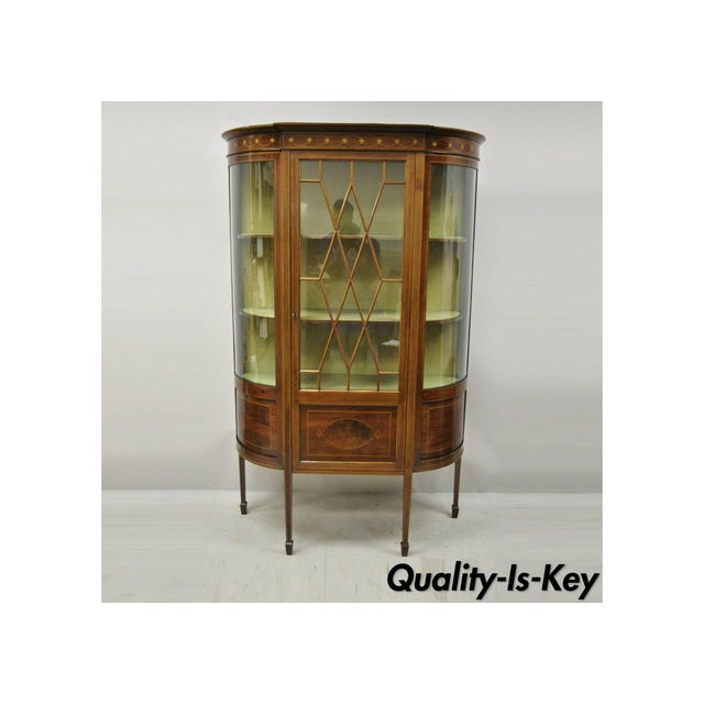 English Edwardian Satinwood Inlay Bowed Curved Glass China Display Cabinet Curio For Sale - Image 13 of 13