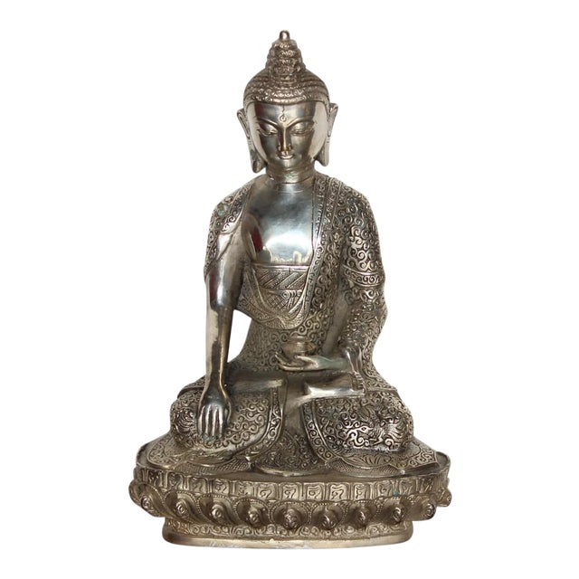 Silver Plated Sitting Buddha For Sale