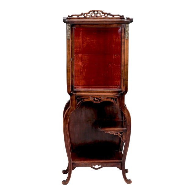 Tall Narrow Chinese Carved Wood Vitrine Display Cabinet For Sale