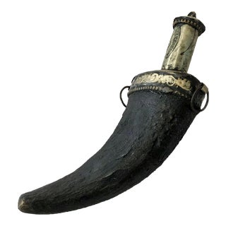 Late 1800s Antique Moroccan Powder Flask - Hand-Carved Gazelle Horn & Silver For Sale