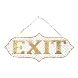 Vintage Style Gold Wire Exit Sign For Sale