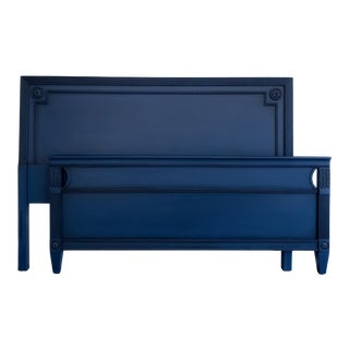 1950s Federal Navy Blue Headboard and Footboard - 2 Pieces For Sale