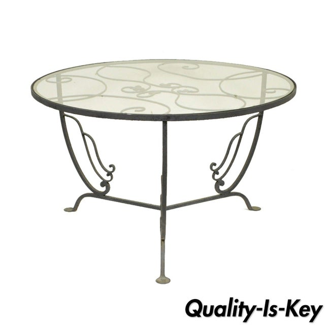 Vintage Salterini Wrought Iron Art Nouveau Deco Patio Garden Round Coffee Table For Sale - Image 10 of 10