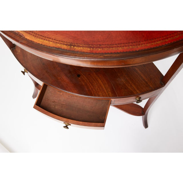 Brown Mahogany Corner Wash Stand With Red Leather Top For Sale - Image 8 of 11