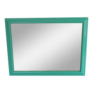 1970s Boho Chic Aqua Framed Wall Mirror