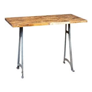 1920s Industrial Butcher Block Desk With Cast Iron Machine Legs For Sale