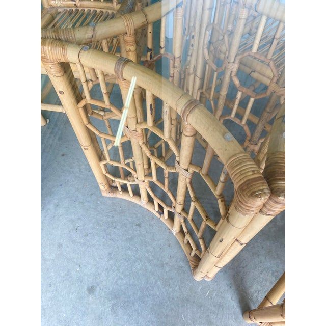 Vintage Medallion Bamboo Dining Table and Chairs - Set of 5 For Sale - Image 9 of 10