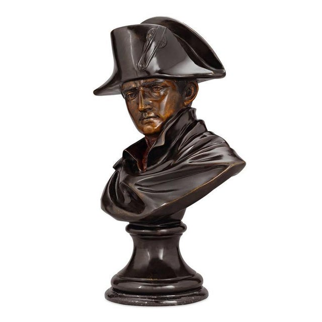 This powerful bust of Emperor Napoléon depicts the legendary man in his role as decisive leader. The sculptor deftly...