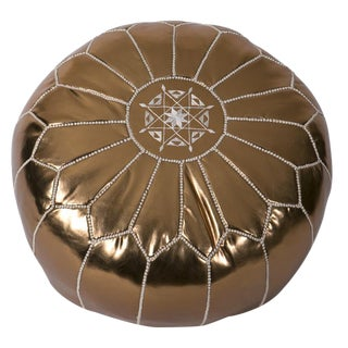 Moroccan Embroidered Metallic Bronze Pouf